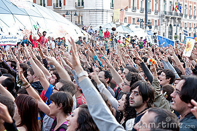 Protest at the puerta del sol square in Madrid Editorial Image