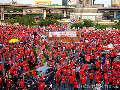Protest rally in Thailand victory monument Editorial Photo