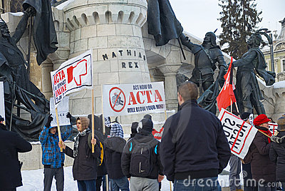 Protest in Romania against ACTA Editorial Stock Photo