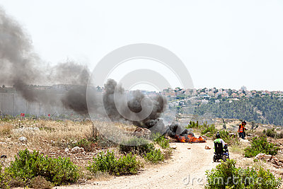 Protest by the Separation Wall Palestine Israel Conflict West Ba Editorial Stock Image