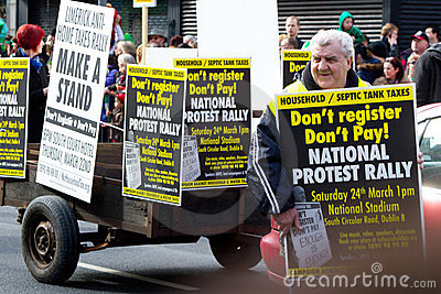 Protest on St. Patrick s Day parade in Limerick Editorial Photography