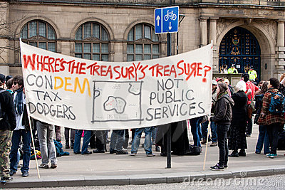 Protest at UK LibDem Conference; against bankers! Editorial Image