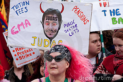 Protest at UK LibDem Conference; cuts condemned Editorial Stock Photo