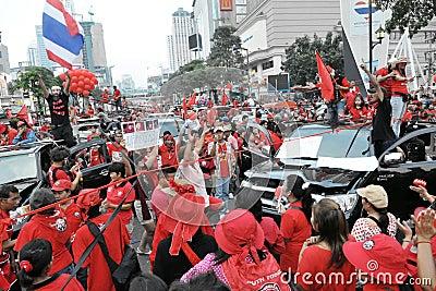 Protesta de la Rojo-Camisa en Bangkok Imagen de archivo editorial