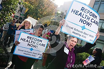 Protesta del cuidado médico Foto editorial