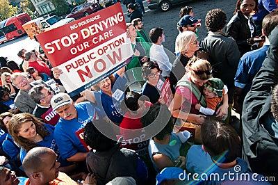 Protesta del cuidado médico Fotografía editorial