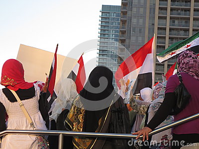 Protesta Mississauga H de Egipto Fotografía editorial