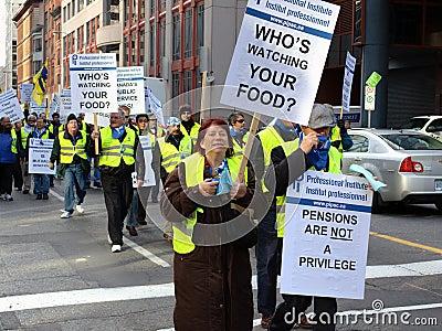 Protestation des syndicats à Ottawa Image éditorial