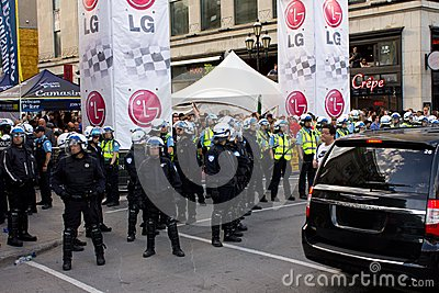 Protestators in Montreal Editorial Stock Photo