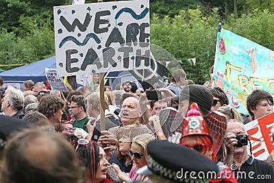 Proteste Balcombe Fracking Redaktionelles Stockfotografie