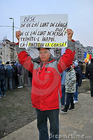 Protester in Bucharest Editorial Stock Photo