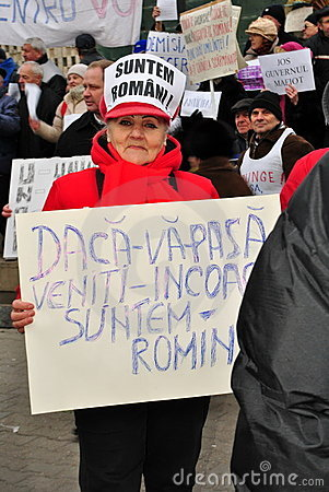 Protester calling the people out in Bucharest Editorial Stock Photo