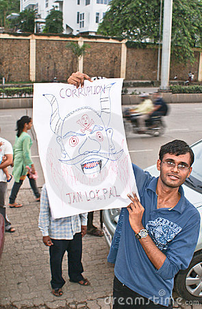 A protester with his anti-corruption placard Editorial Image