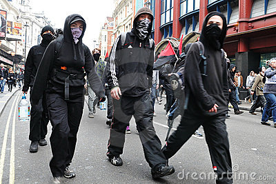 Protesters at an Austerity Rally in London Editorial Photography
