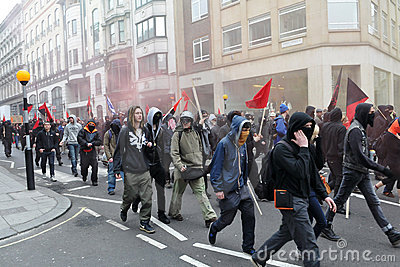Protesters at an Austerity Rally in London Editorial Stock Photo