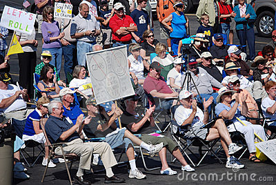 Protesters Cheering the Speaker Editorial Stock Image