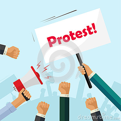 Free Protesters Hands Holding Protest Signs, Crowd People, Political, Activist Fists Stock Image - 75764581