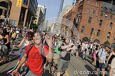 Protesters having fun. Editorial Stock Photo