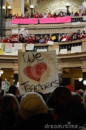 Protesters inside Wisconsin Capitol Editorial Image