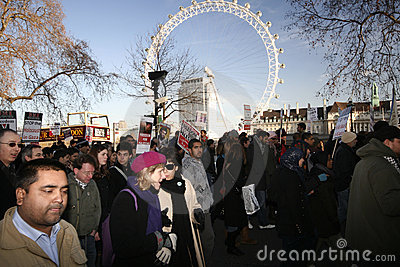 Protesters in London eye Editorial Image