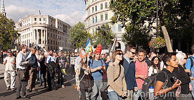 Protesters March against the Pope s Visit London Editorial Stock Image