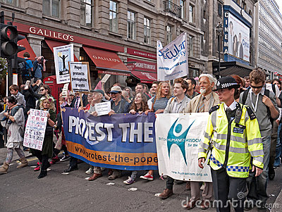 Protesters March against the Pope s Visit London Editorial Image