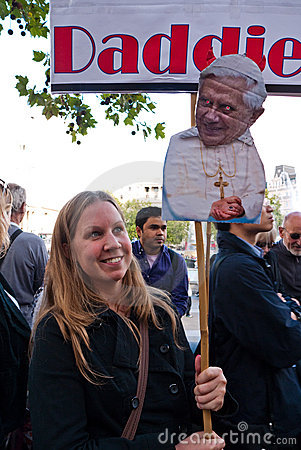 Protesters March against the Pope s Visit London Editorial Stock Photo