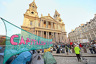 Protesters outside St Pauls Cathedral, London Editorial Stock Image