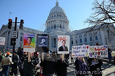 Protesters outside Wisconsin Capitol Editorial Stock Photo