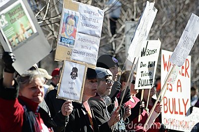 Protesters outside Wisconsin Capitol Editorial Image
