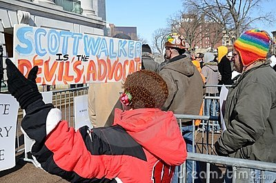 Protesters outside Wisconsin Capitol Editorial Stock Image