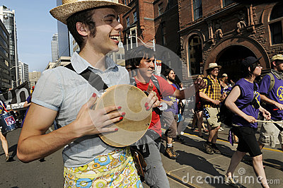 Protesters playing music. Editorial Stock Image