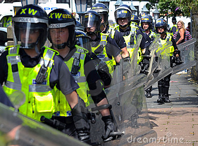 Protesters and police at a demonstration Editorial Stock Photo