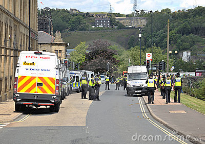 Protesters and police at a demonstration Editorial Photography