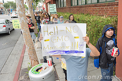 Protesters rallied in the streets against the Monsanto corporation. Editorial Photography