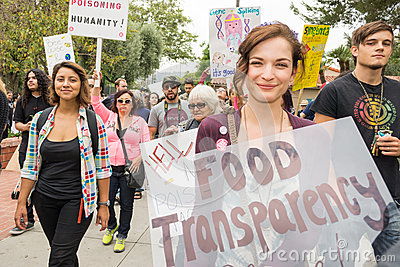 Protesters rallied in the streets against the Monsanto corporation. Editorial Photo