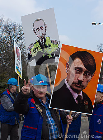 Protesters rally near russian embassy Editorial Stock Image