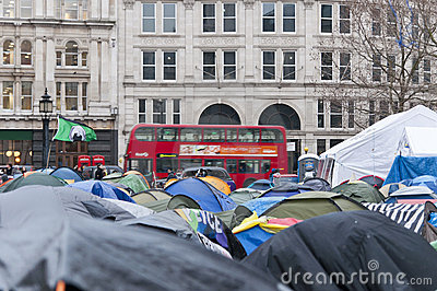 Protesters in Saint Pauls, London, 2012 Editorial Stock Photo