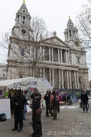 Protesters in Saint Pauls, London, 2012 Editorial Photography