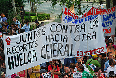 Protesters in Seville Editorial Photo
