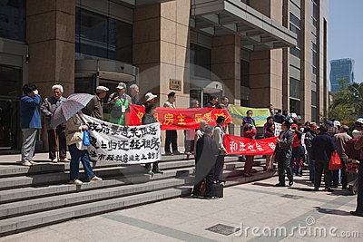 Protesters in Shanghai Editorial Photography