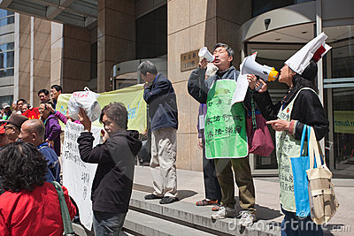Protesters in Shanghai Editorial Photo