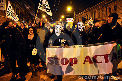 Protesting against ACTA and government Editorial Stock Image