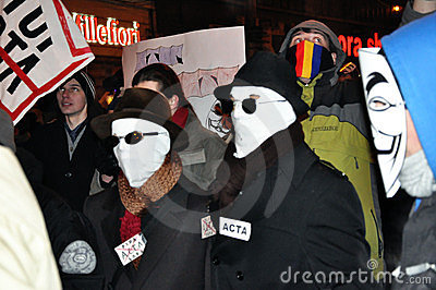 Protesting against ACTA and government Editorial Image