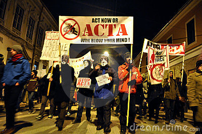 Protesting against ACTA and government Editorial Photography