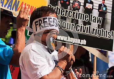Protesto da lei da liberdade do Internet em Manila, Filipinas Fotografia Editorial