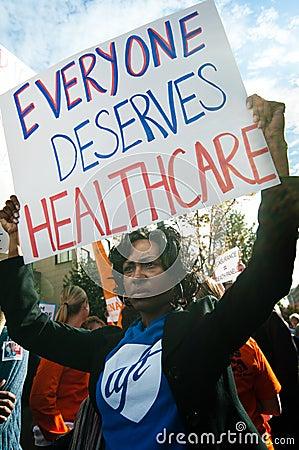 Protesto dos cuidados médicos Fotografia Editorial