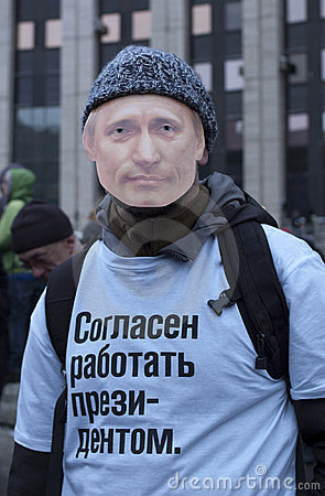 Protestor with Putin s mask Editorial Photography