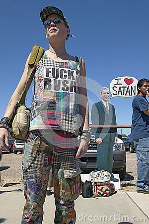 Protestor with a t-shirt that reads Fuck Bush Editorial Stock Photo
