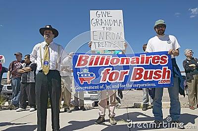 Protestor in Tucson Arizona of President G Bush Editorial Photography